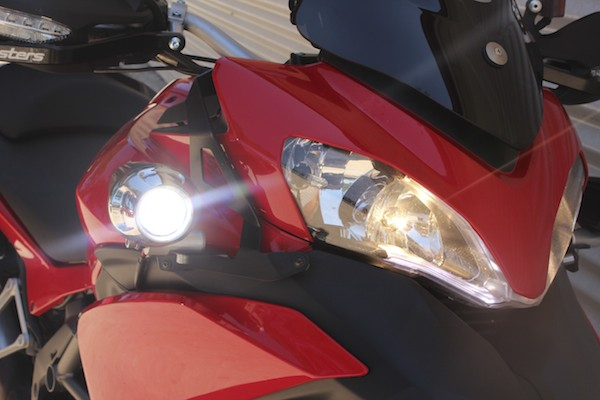 Ducati Multistrada with Xenon lights fitted