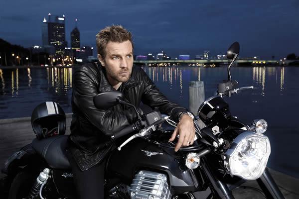 Ewan McGregor on a Moto Guzzi