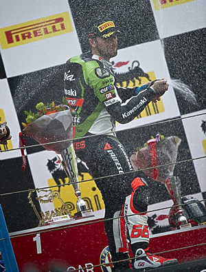 Tom Sykes on the podium