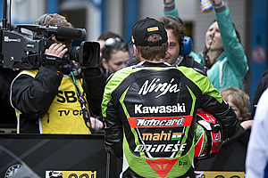 Sykes after race 1 with the media
