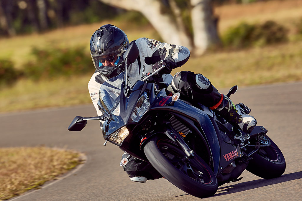 Chris Pickett riding the new Yamaha YZF-R3 at the Australian launch