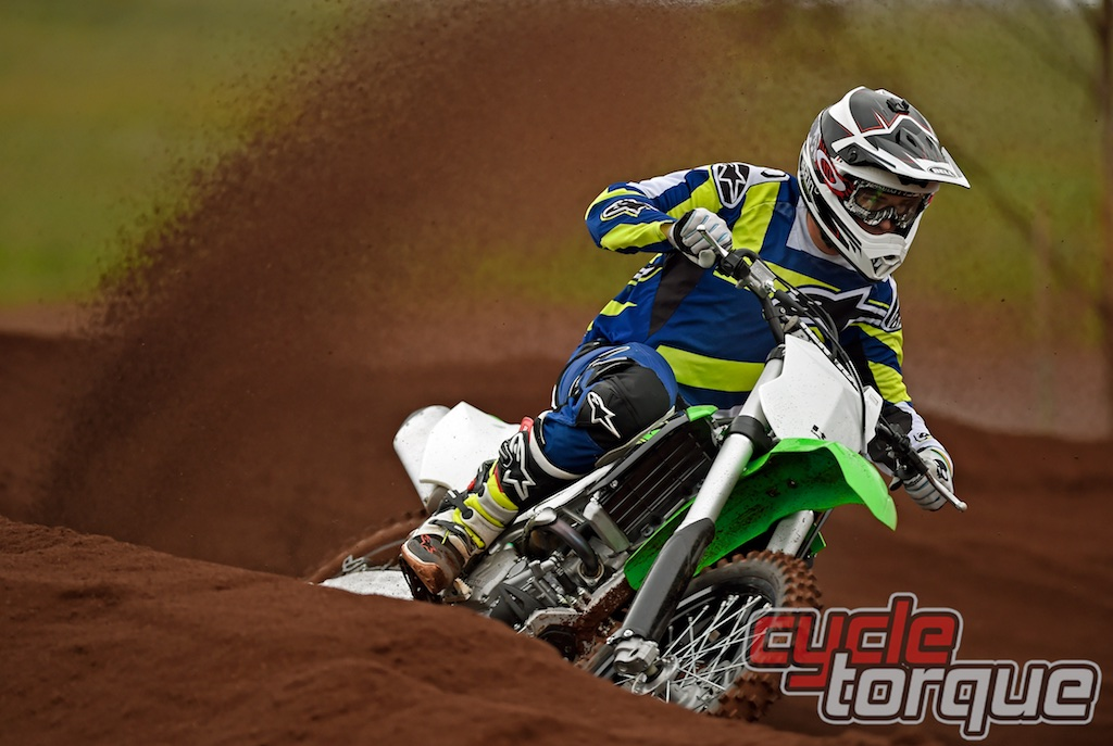 Kawasaki KX250F motocross bike test side on photo