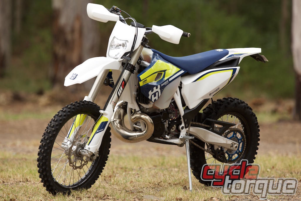 Husqvarna TE250 2016 two stroke enduro motorcycle front three quarter static