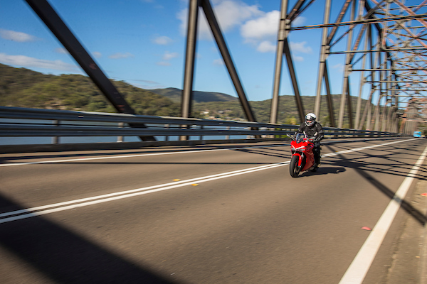Ducati Supersport australian launch action shot brooklyn bridge sports tourer motorcycle 2017