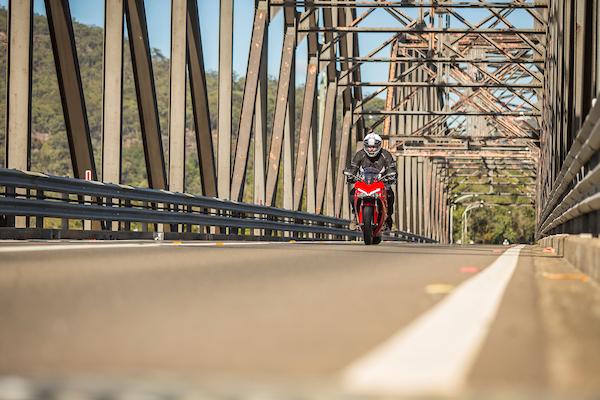 Ducati Supersport australian launch action shot brooklyn bridge sports tourer motorcycle 2017